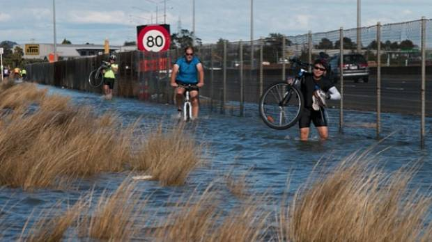 KING TIDES: Northwestern cycle way in Auckland.