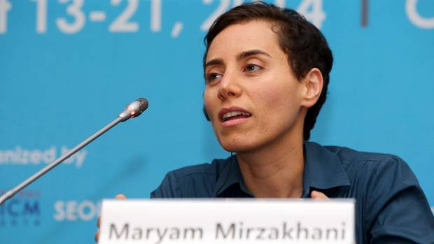 A 2014 file photo of Iranian-born Maryam Mirzakhani speaking at the International Congress of Mathematicians in Seoul.