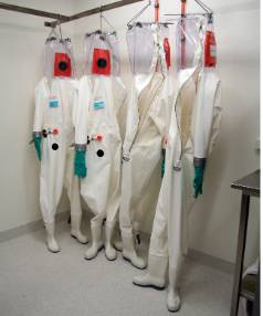 Protective suits used by infectious disease researchers.