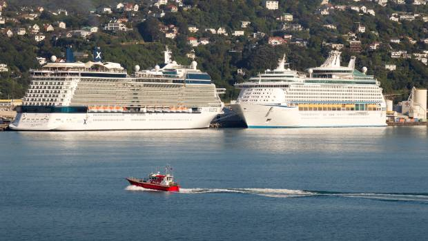 KIWI CRUISING: Wellington harbour on a beautiful morning with the Celebrity Solstice (L) and Voyager of the Seas.