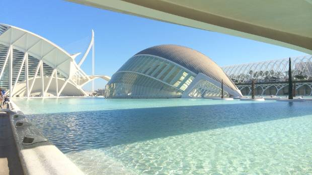 A scene from the La Ciudad de Artes y Ciencias (City of Arts and Sciences) in Valencia, Spain.