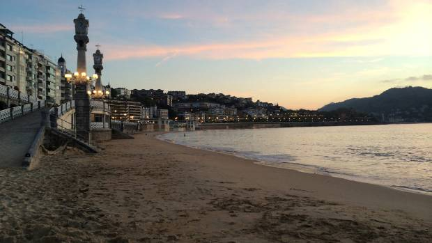 La Concha Beach in San Sebastian, Spain.