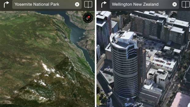 ON THE MAP: Wellington joins Yosemite on Apple's 3D flyover maps.