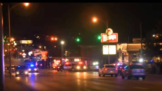 CRIME SCENE: The Wendy's where the shooting took place, as shown on local news station WOWT.