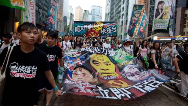 Pro-democracy protesters at a rally in Hong Kong on July 1, 2013.