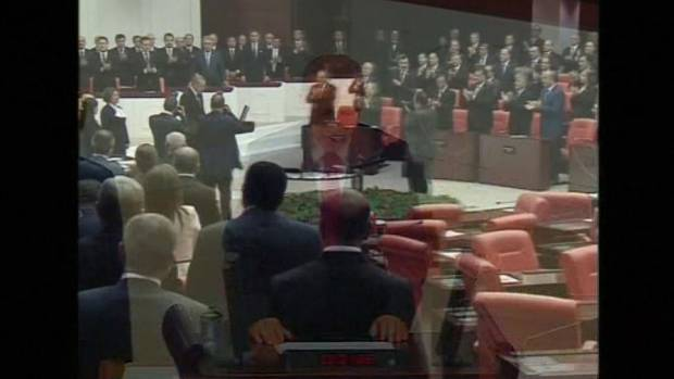 Raw footage as Tayyip Erdogan is sworn in as Turkey's 12th president.