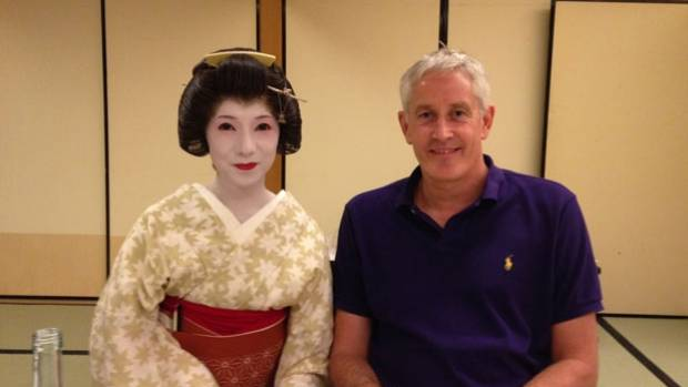 GOING BACK IN TIME: Allister Daly with the geisha who served him during a business meeting.