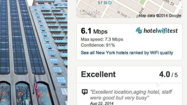CHECK BEFORE YOU BOOK: The browser extension displays the Wi-Fi-speed information on Hotels.com.