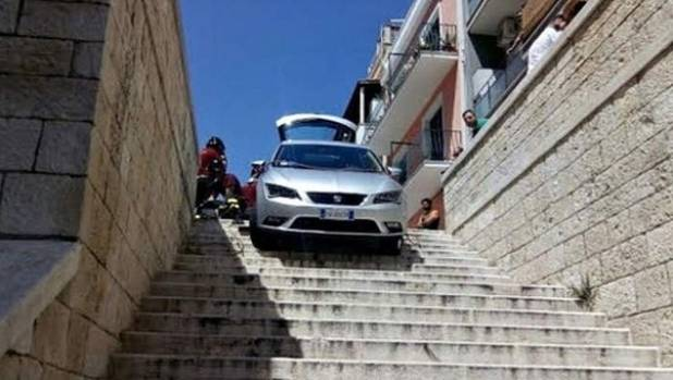 UH OH: Satnav guides family's rental car to a staircase in Bari.
