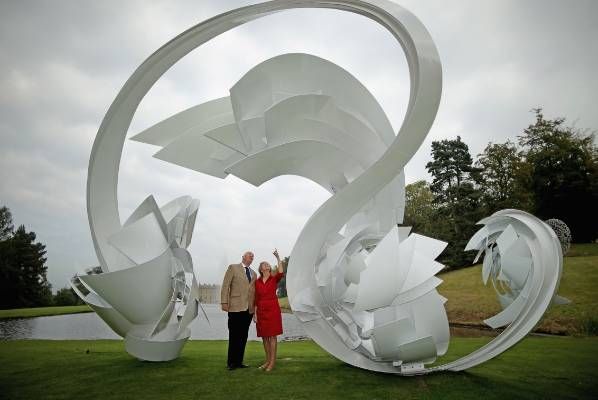 The Duke and Duchess of Devonshire view the work Hoop-La by Alice Acock which is part of the annual Sotheby's monumental ...