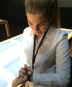 Belle Gibson trying out the Apple Watch.