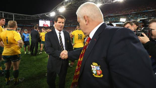 Robbie Deans and Warren Gatland shake hands at the end of the 2013 series.
