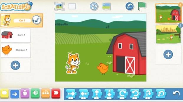 ScratchJr lets kids program their own interactive stories and games.