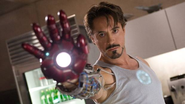 Robert Downey Jr shows off his high-tech gauntlet in the first Iron Man film.