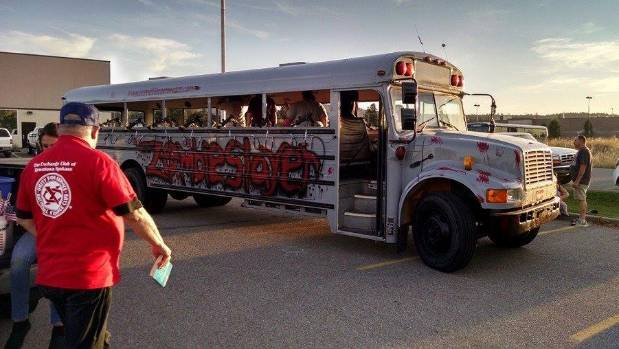 The Zombie Slayer Bus at the Incredible Corn Maze in Hauser, Idaho.