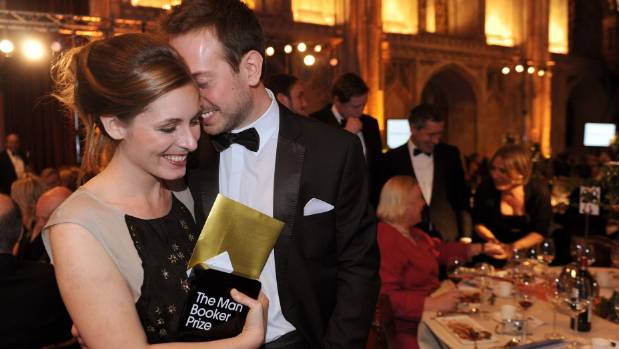 Eleanor Catton with husband Steven Toussaint, just after winning The Man Booker Prize for The Luminaries.