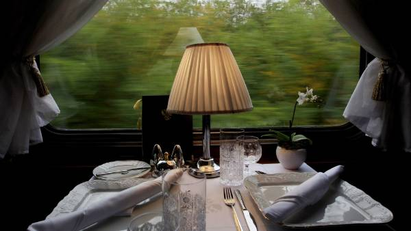 A table set for lunch aboard the historic Tehran-bound train.