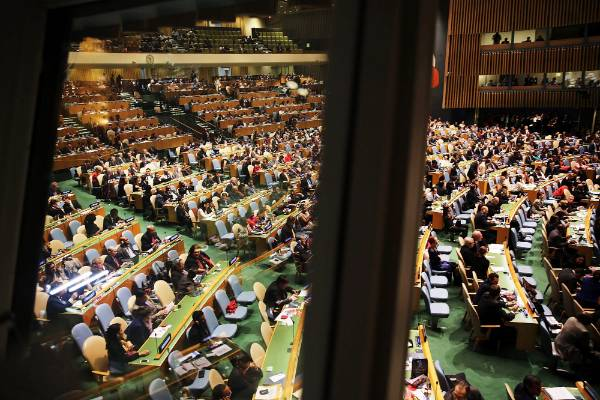 A wider view of the United Nations General Assembly as they prepare to vote.
