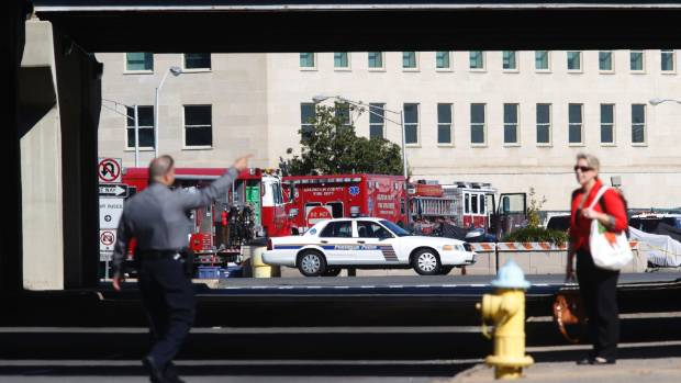 SCARE: The scene of an unfounded Ebola scare at the Pentagon last week. Twenty-two people were quarantined on a bus for ...