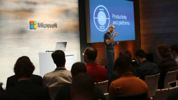 Microsoft CEO Satya Nadella addresses the audience during a cloud briefing event in San Francisco.