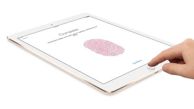 Apple's Touch ID technology uses a unique fingerprint identity sensor to unlock the iPad Air.