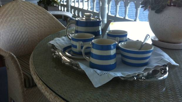 STATELY SIMPLICTY: Afternoon tea on the verandah.