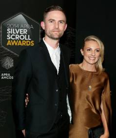 RED CARPERT: Joel Little and wife Gemma Robinson at the Silver Scroll Awards.