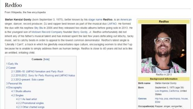 Redfoo's Wiki page was updated on Thursday. The additional entry was quickly deleted.