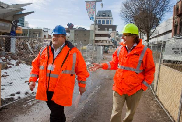 Earthquake Recovery Minister Gerry Brownlee walks through the central city red zone with Cera chief executive Roger ...