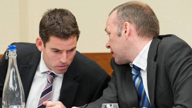 CONSULTATION: SDC lawyer Michael Garbett (left) and SDC water and waste manager Ian Evans during the hearing in Te Anau.
