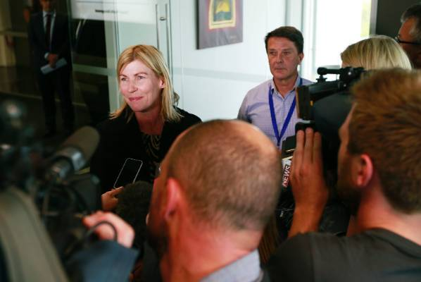Jo Malcolm answers media questions after her husband Roger Sutton quits as Cera chief executive.