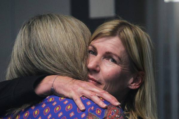 Jo Malcolm is given a hug after her husband Roger Sutton quits as Cera chief executive.