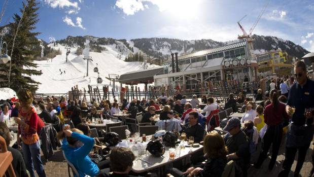 When the skiing stops at Aspen the action really begins, apres time at Ajax tavern next to the Little Nell.