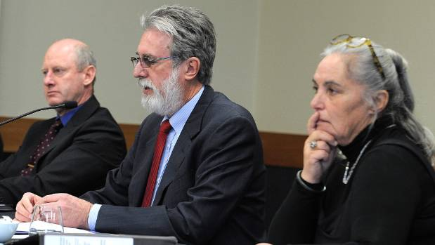 Commissioners from left, Rob Potts, Denis Nugent and Yvette Couch-Lewis at the Sewerage hearings in Te Anau in July.