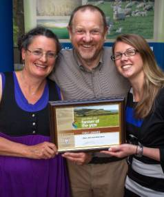 Hawarden pig farmers Steve and Josie Sterne with daughter, Holly, after being named the Lincoln University Foundation ...