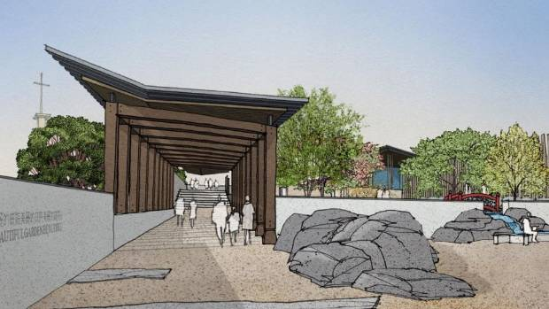 An artists impression of a Chinese Garden in Frank Kitts Park. the garden is a key part of the city's three-year ...