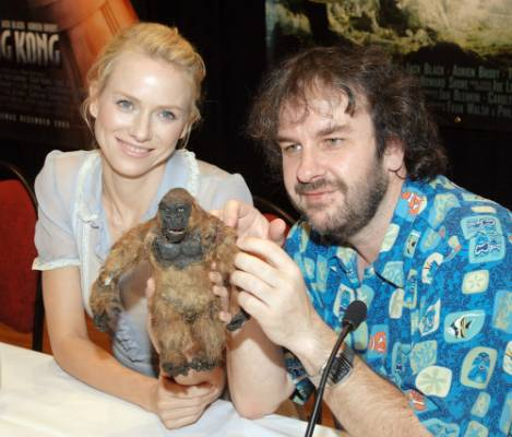 Peter Jackson, right and King Kong star Naomi Watts in 2005 with the model Jackson made of Kong 40 years ago.