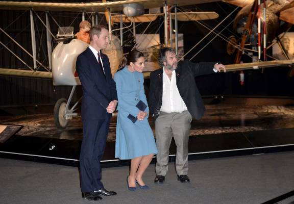 Peter Jackson shows Kate and Wills around at the Omaka Aviation Heritage Centre near Blenheim during their New Zealand ...