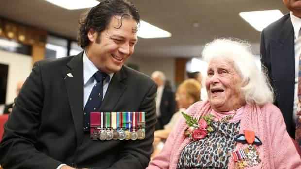 HERO MEETS A HERO: Victoria cross recipient Willie Apiata meets with Pippa Doyle before she received the Legion of ...