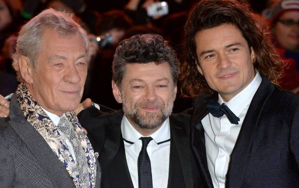 Fond farewell: Sir Ian McKellen, Andy Serkis and Orlando Bloom at the premiere of The Hobbit: The Battle OF The Five ...