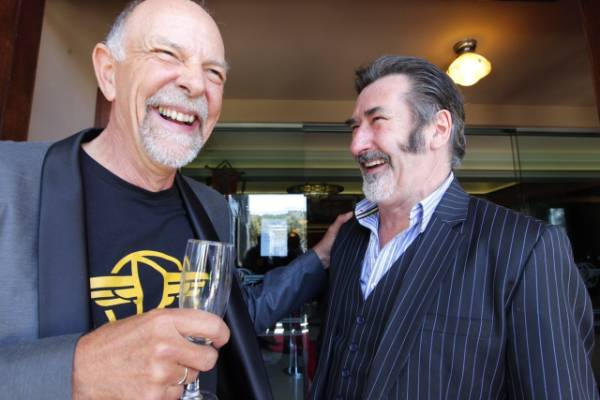 Editor Jamie Selkirk and dwarf actor william kircher at the Roxy Theatre Wellington premier of the Hobbit: the Battle of ...