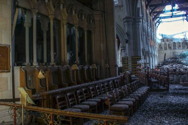 EERIE VIEW: Bird droppings, books and rubble can be found inside the Christ Church Cathedral, as seen in these photos ...
