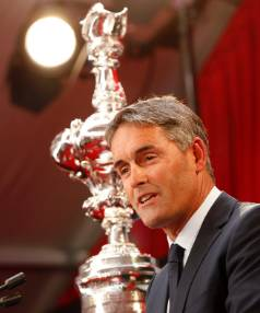 Oracle Team USA CEO New Zealander Russell Coutts with the America's Cup.