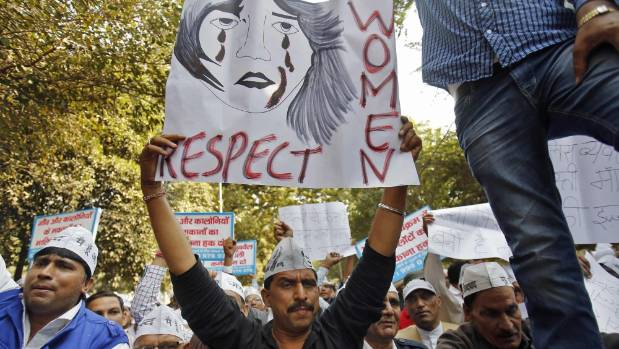 RESPECT WOMEN: Protesters demonstrate against the rape of a female taxi passenger in Delhi.