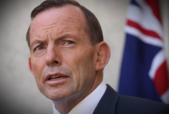 Australian Prime Minister Tony Abbott at the Canberra press conference.