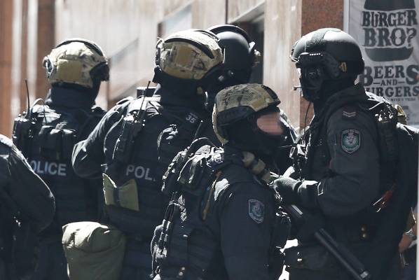 NSW Tactical Operations police attend the Martin Place siege.