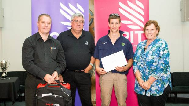 Andrew McKerchar, second from right, celebrates his apprentice of the year award with, from left, Plumbing World Papanui ...
