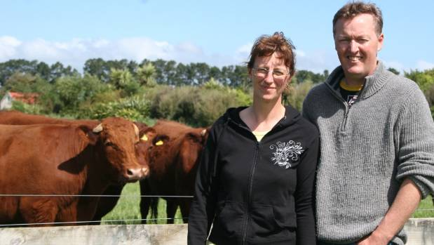 Julian and Fiona Downs, Rannoch Meats owners and red devon farmers at Greytown.