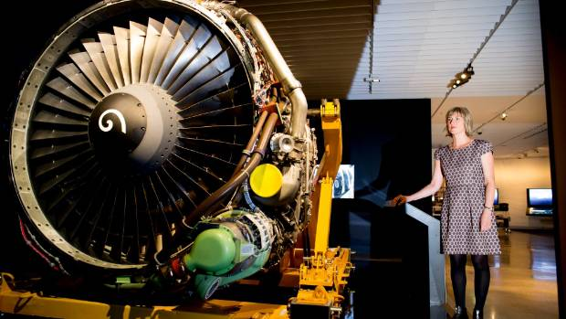 Jet set: Te Papa lead curator Lynette Townsend with a jet engine for Air New Zealand's 75th anniversary exhibition, ...