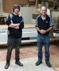 HANDS ON: Apprentice Trevor Mackie, left, who works for RA Hale, and Donald Bisphan, managing director of the joinery ...